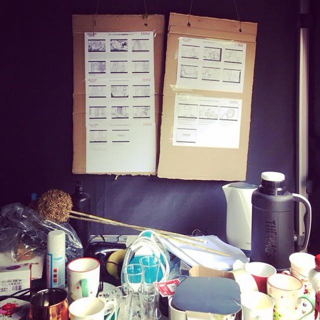 Storyboards on set