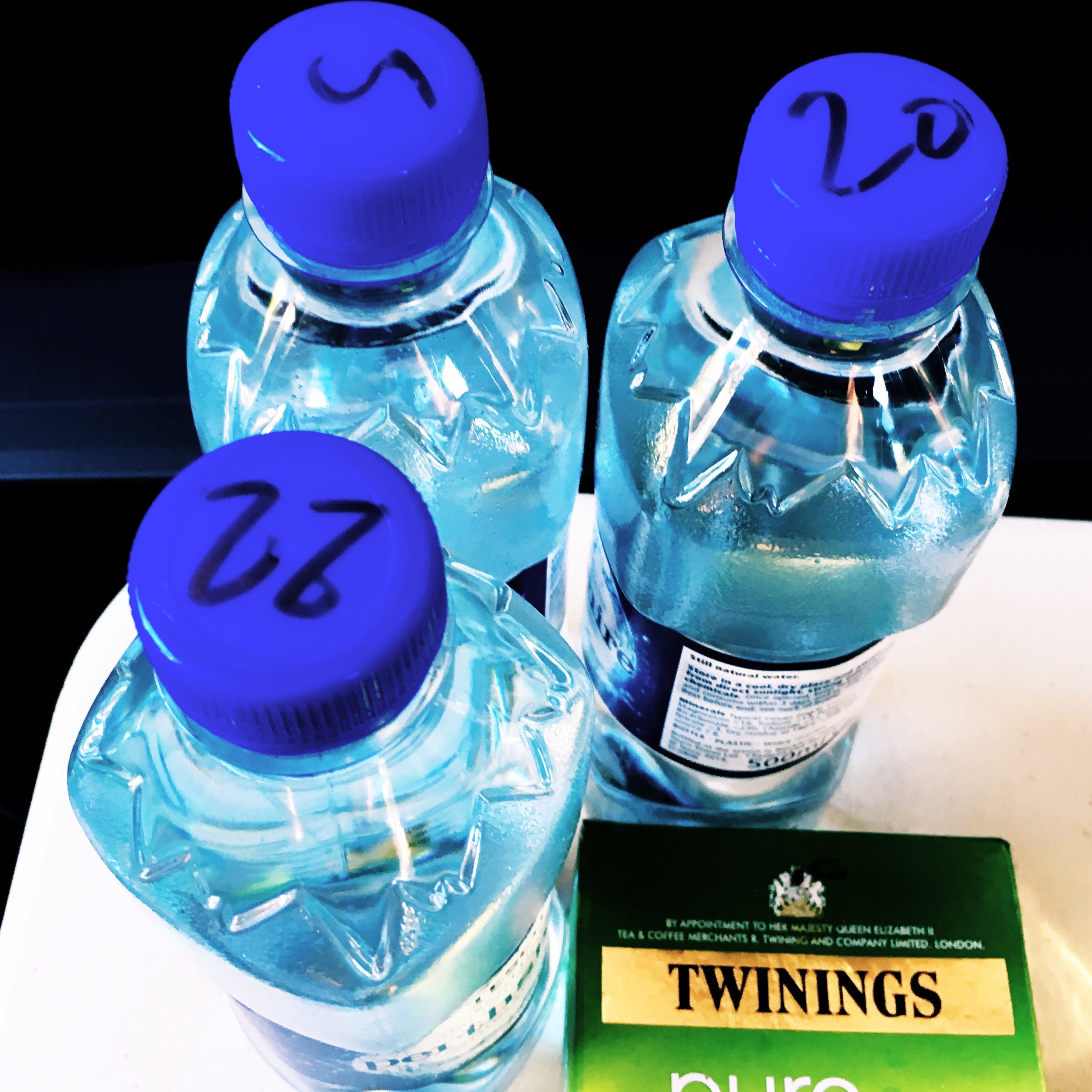 Numbered up water bottles to make it easy for crew to keep track of which is theirs