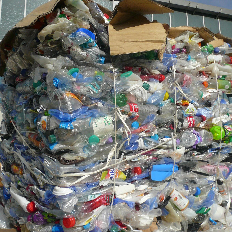 Plastic bottle bales at Quantum Waste