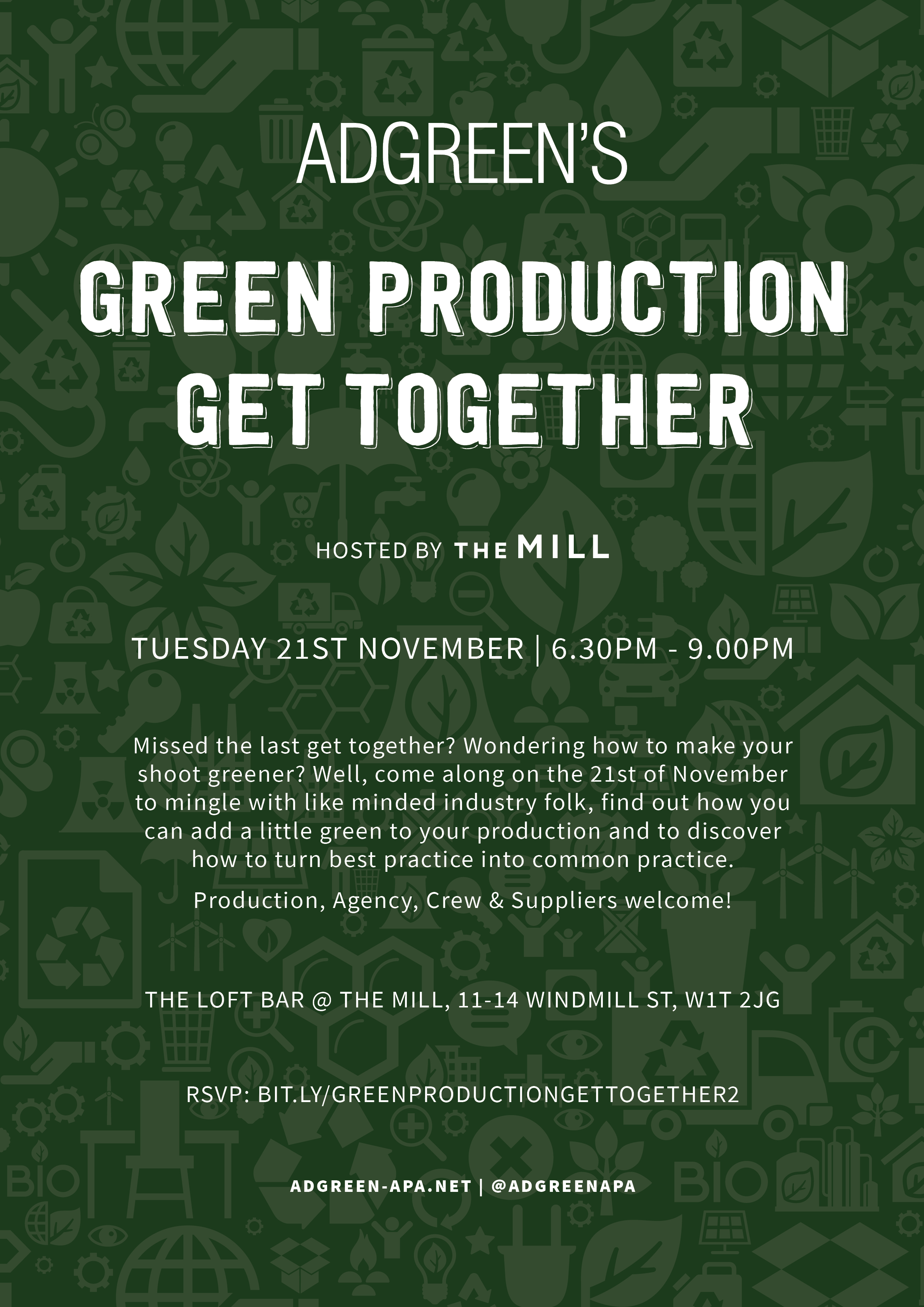 Green Production Get Together! Missed the last get together? Wondering how to make your shoot greener? Well, come along on the 21st of November to mingle with like minded industry folk, find out how you can add a little green to your production and to discover how to turn best practice into common practice.