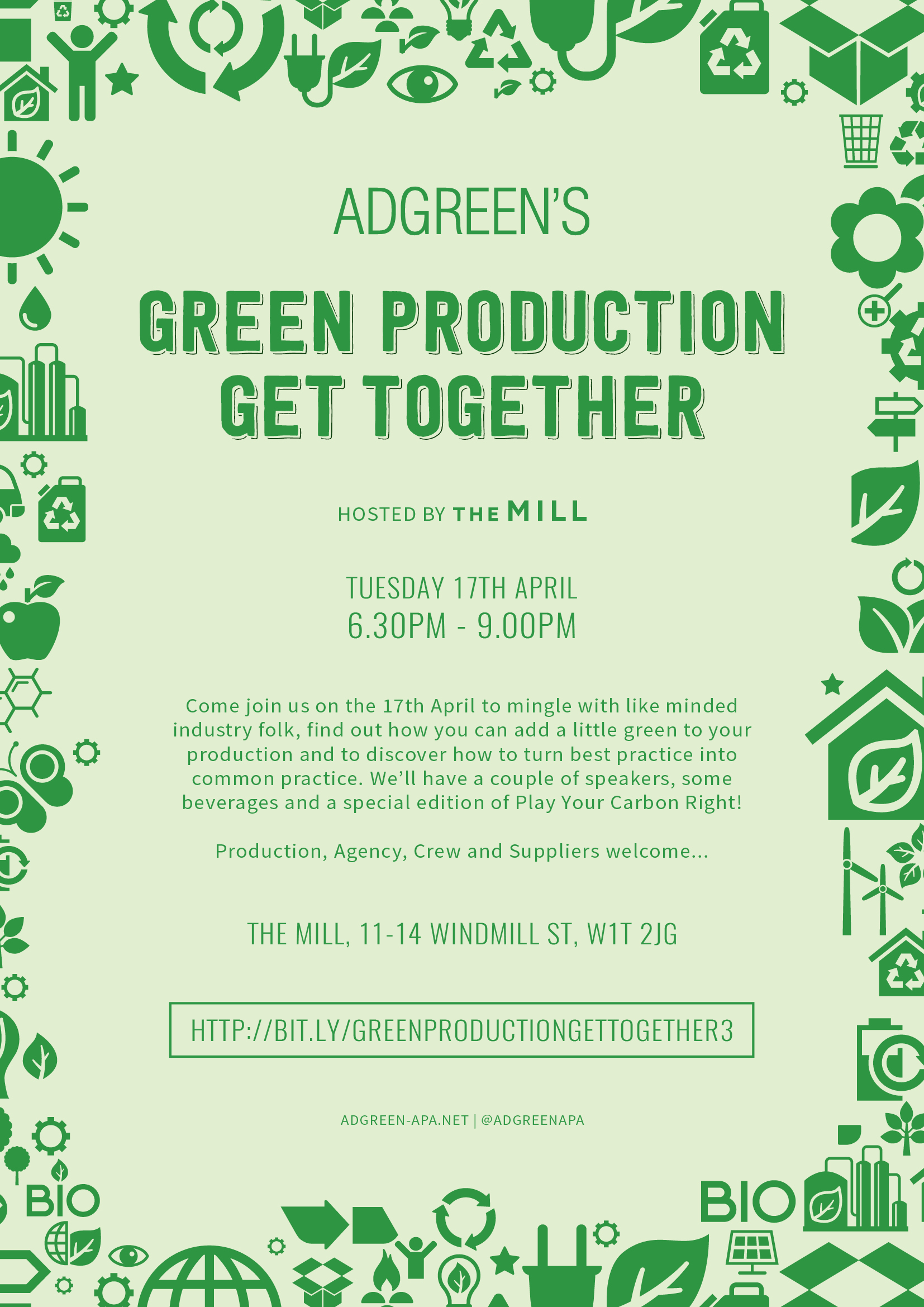 Green Production Get Together! Missed the last get together? Wondering how to make your shoot greener? Well, come along on the 17th of April to mingle with like minded industry folk, find out how you can add a little green to your production and to discover how to turn best practice into common practice.