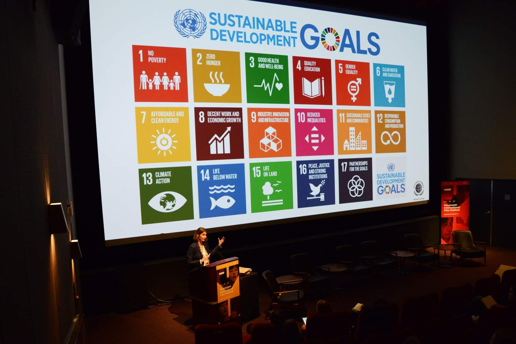 Helle Bank Jorgensen discussing how to incorporate the SDGs into our work