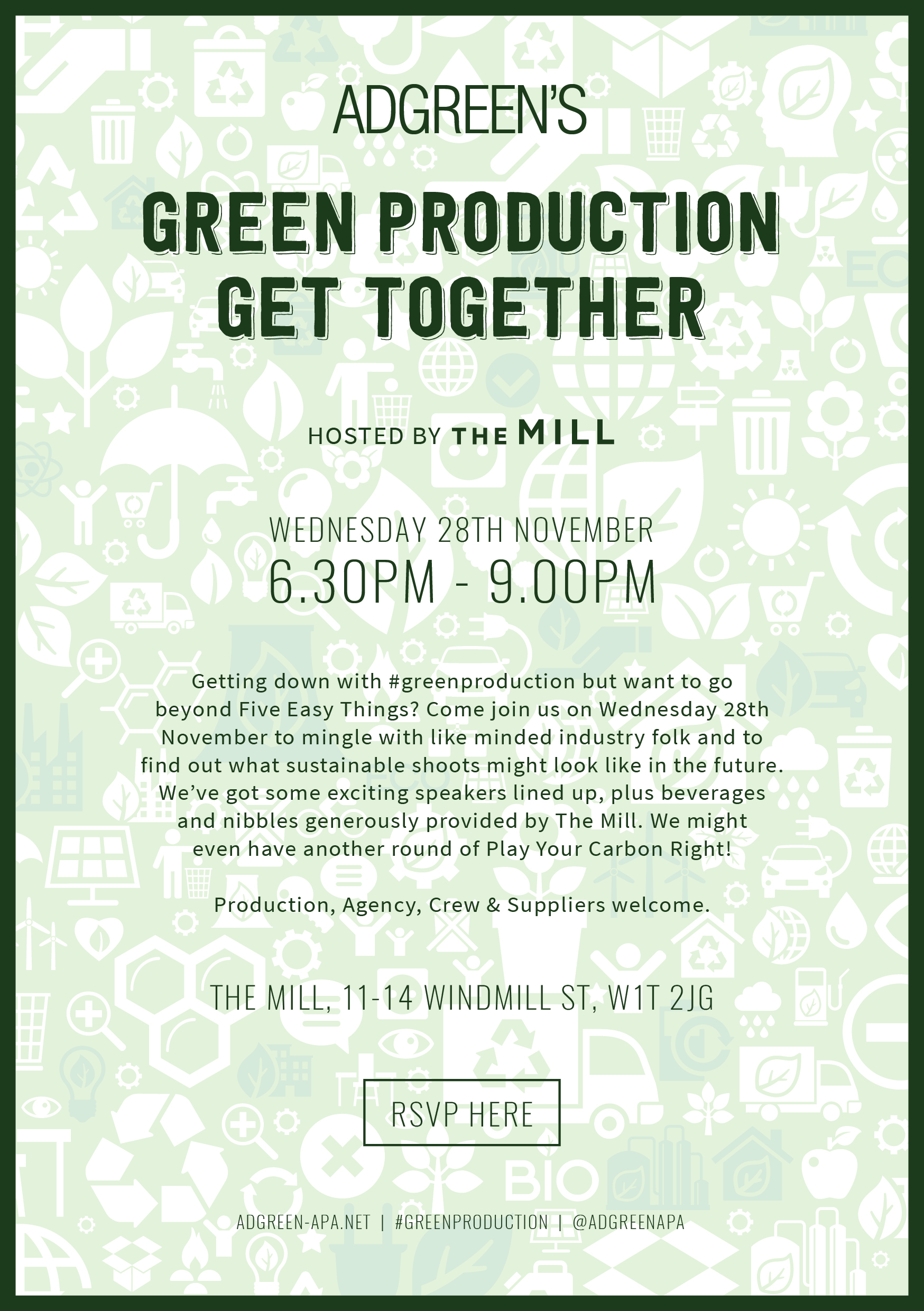Green Production Get Together! Missed the last get together? Wondering how to make your shoot greener? Well, come along on the 28th of November to mingle with like minded industry folk, find out how you can add a little green to your production and to discover how to turn best practice into common practice.